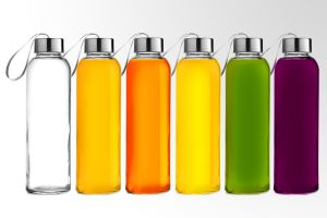 Chef's Star Glass water Bottle 6 Pack 18oz Bottles For Beverage and Juicer Use Stainless Steel Caps with Carrying Loop