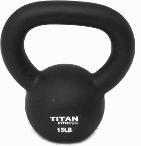 Solid Cast Iron Kettlebell by Titan Fitness